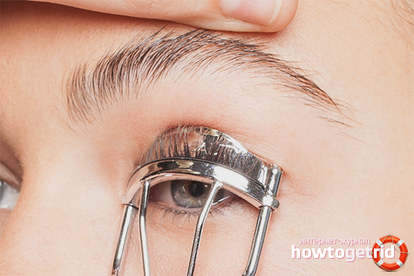 Technique curling eyelashes tongs