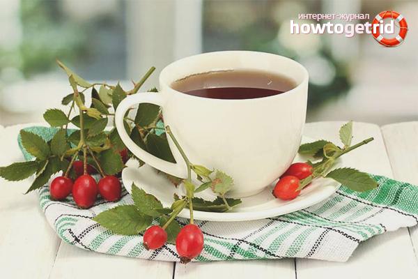 Dry rosehip tea for bowel cleansing