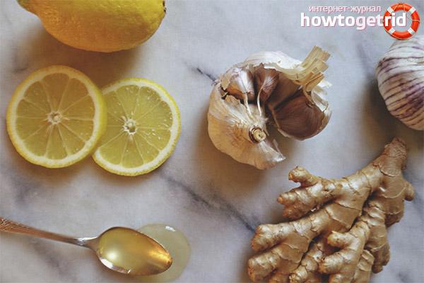 Broth from lemon, garlic and ginger