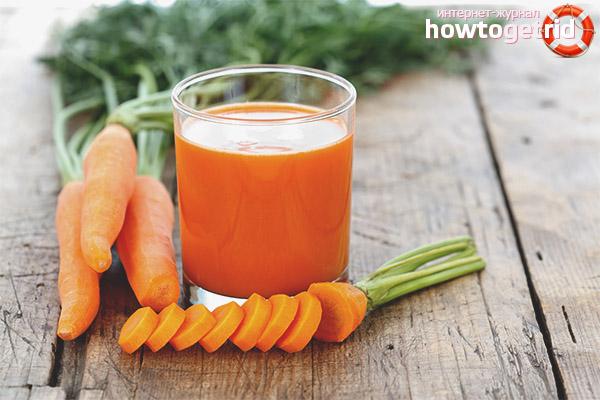 Beneficiile sucului de morcovi în dietă